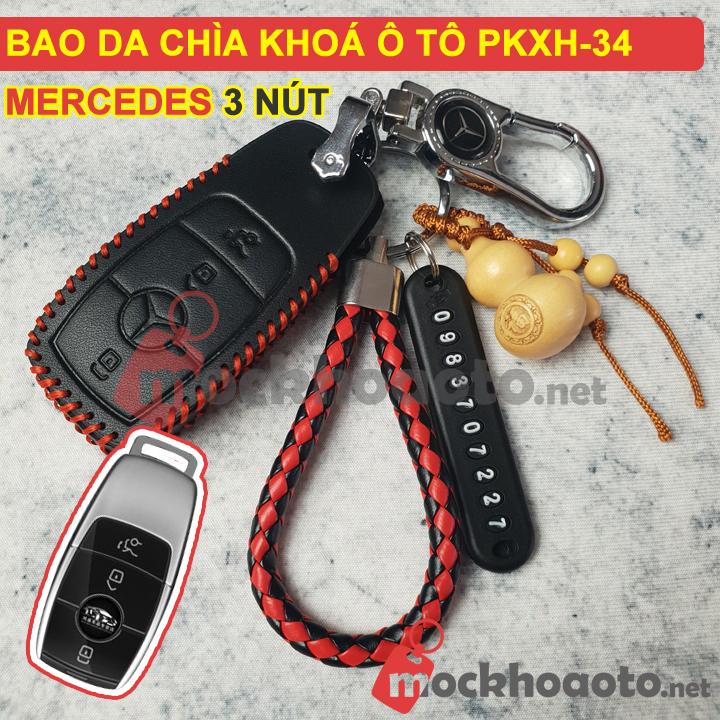 Bao da chìa khoá ô tô Mercedes 3 nút PKXH-34