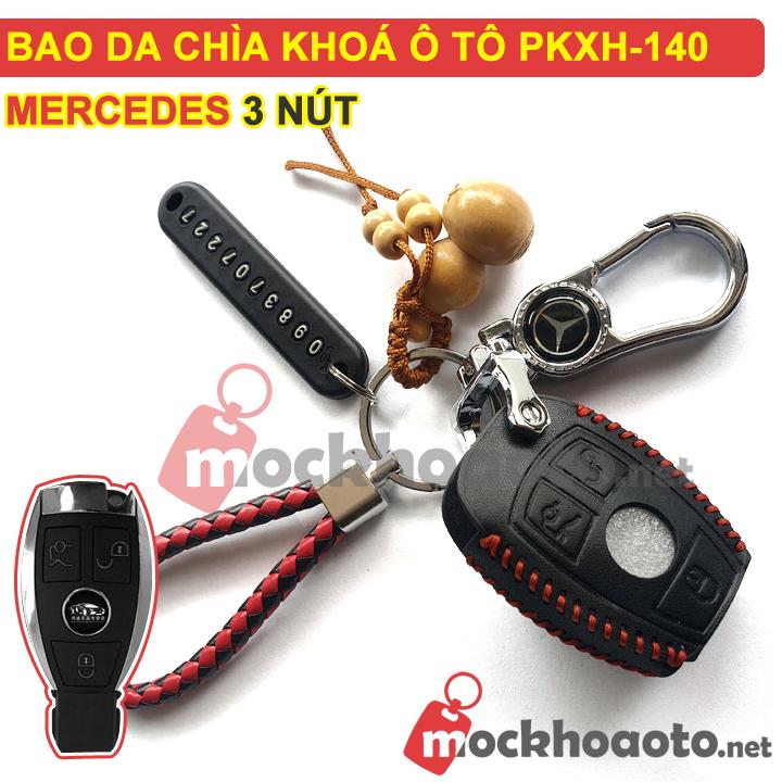 Bao da chìa khoá ô tô Mercedes 3 nút PKXH-140